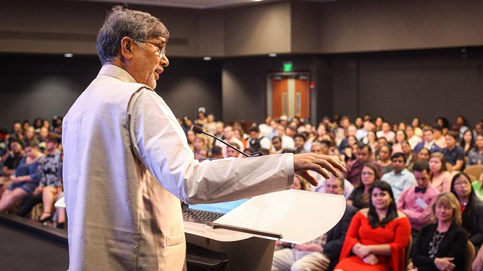 Nobel Peace Prize recipient Kailash Satyarthi speaks at PeaceJam Southeast Conference
